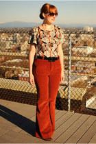 brick red corduroy pants - tawny leopard print sam edelman heels - beige top