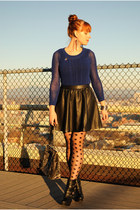 black wedge boots - blue sweater - black polka dot asos tights