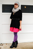 heather gray H&M hat - black sweater - purple American Apparel tights