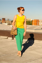 tan bag - green pants - beige flats - yellow Gap top