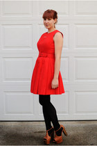 red BB Dakota dress - black American Apparel tights