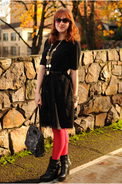 red American Apparel tights - black sweater - black thrifted skirt