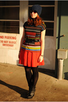 black wedge boots - navy H&M hat - red striped vintage top - red BB Dakota skirt