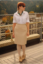 beige wedge boots - beige pencil skirt - white button-up blouse - teal necklace