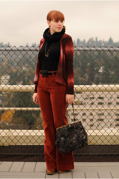 ruby red high-waisted pants - crimson cardigan - black turtleneck Old Navy top