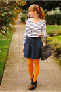 Gold-h-m-tights-gray-thrifted-bag-navy-denim-gap-skirt