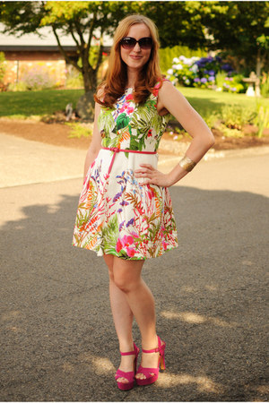 white floral Zara dress - hot pink Gap belt - hot pink Steve Madden heels