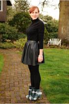 black faux leather H&M skirt - sculptural Irregular Choice boots