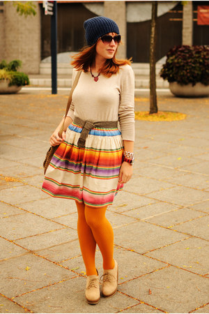 gold striped skirt - beige wedge boots - navy knit hat - beige sweater