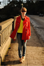 red trench coat calvin klein coat - blue Levis jeans - yellow Gap sweater