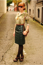 green leather pencil skirt - green sweater - dark brown Madden Girl heels