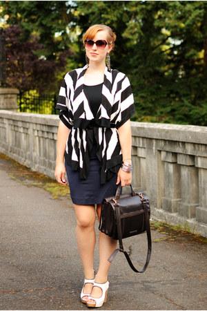 black cardigan - navy skirt - white Sam Edelman Kendall wedges