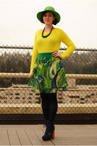 lime green hat - navy Steve Madden boots - yellow Gap sweater