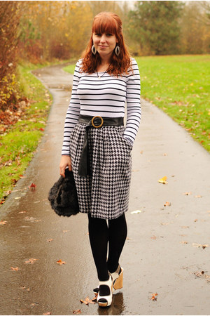 black hat - black American Apparel tights - white striped H&M top