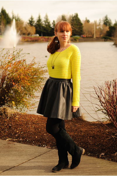 yellow Gap sweater - black suede BDG boots - black H&amp;M skirt