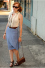 Off-white-top-light-blue-skirt-dark-brown-madden-girl-heels