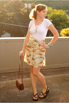 beige skirt - dark brown purse - dark brown sandals - white t-shirt