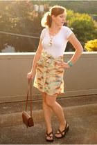 beige skirt - dark brown purse - dark brown sandals - white t-shirt