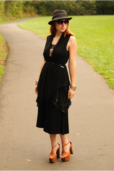black dress - black hat - black skirt - tawny Jessica Simpson Dany heels