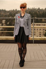 White-striped-thrifted-blazer-black-sheer-striped-romwe-tights