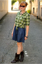 dark brown boots - navy denim mini Gap skirt - green plaid top