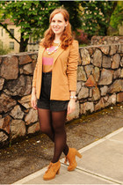 camel Forever 21 blazer - brown TJ Maxx boots - light pink striped H&M sweater
