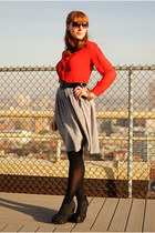 red sheer blouse - black American Apparel tights - heather gray thrifted skirt