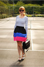 White-sam-edelman-wedges-white-striped-h-m-shirt-black-forever-21-skirt