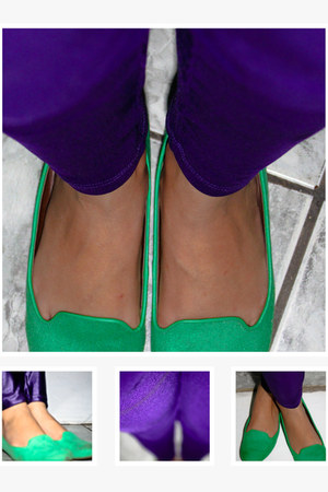 chartreuse Ana Capri shoes - deep purple pants