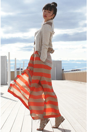 eggshell crop Forever 21 jacket - carrot orange wide leg BCBG pants