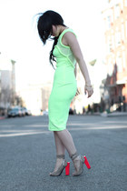 hot pink unblock united nude heels - lime green lime mesh H&M dress