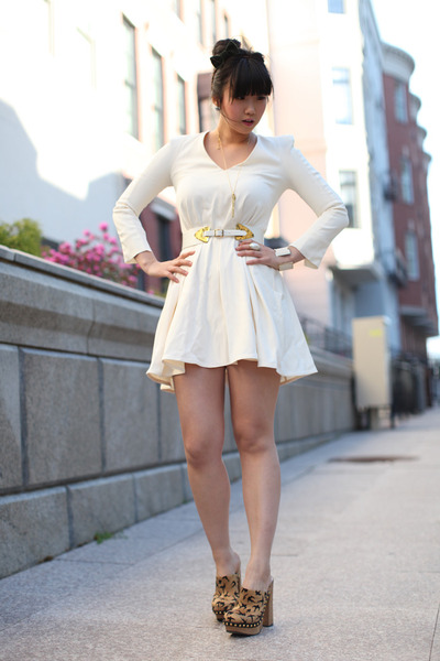 ivory French Connection dress - camel Miu Miu clogs