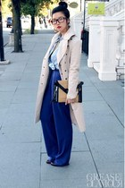 beige trenchcoat Burberry Prorsum coat - sky blue denim banana republic shirt
