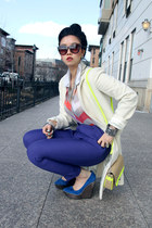 off white wool vintage coat - chartreuse neon Forever 21 bag