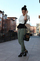 ivory H&M top - olive green American Eagle pants - black Y-3 heels