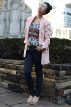 tribal print Forever21 top - dark skinny Diesel jeans - vintage blazer
