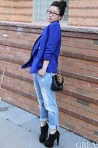 blue vintage blazer - black platform Forever 21 boots