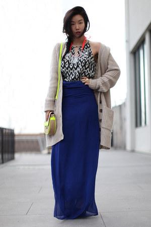 chartreuse Forever 21 bag - beige asos sweater - blue Forever 21 skirt