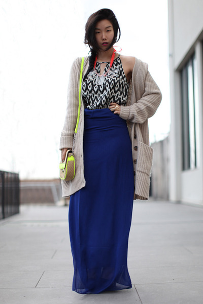 chartreuse Forever 21 bag - beige asos sweater - blue Forever 21 skirt