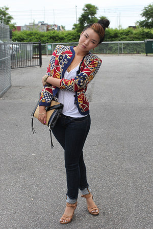 ruby red scarf print vintage blazer - navy Diesel jeans - camel Clarks sandals