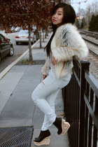 tan mixed fur Style Nanda coat - black wood wedge Jeffrey Campbell boots