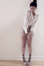 Forever-21-shorts-patent-peep-toe-miu-miu-pumps