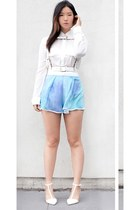 white nastygal shorts - white Zara pumps