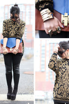 gold sweater vintage sweater - boots Bakers boots - clutch asos bag