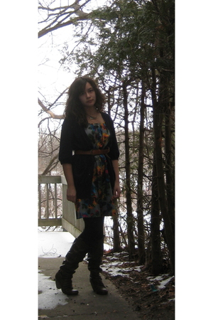 Old Navy dress - blue American Eagle cardigan - brown Blowfish boots - black HUE
