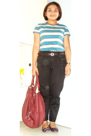 bench t-shirt - NY Square pants - Parisian shoes - sm dept store purse
