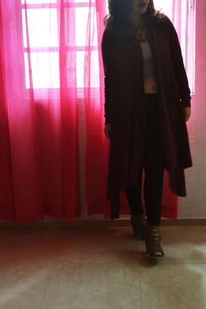 burgundy Bobois cardigan - black Forever 21 leggings - studded bag TJ Maxx purse