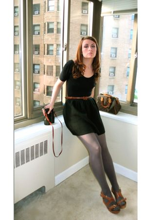 black American Apparel suit - black  skirt - brown Louis Vuitton purse