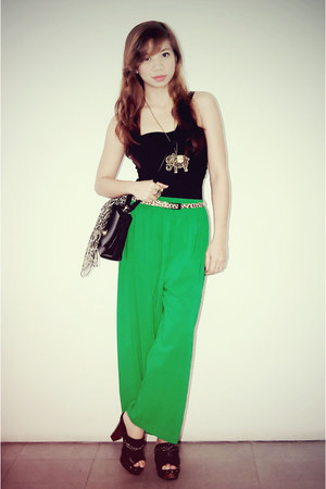 lime green wide leg thrifted pants - black Oxygen bodysuit - black clogs Parisia