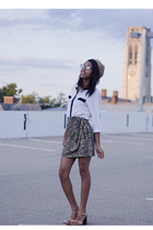 brown skirt - white blouse - beige shoes - beige hat